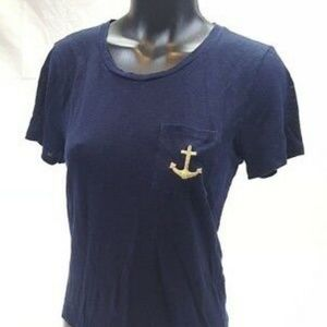 J. Crew Tops - Blue Gold Linen Nautical Theme Pocket T-Shirt XXS